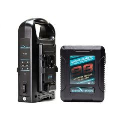 Indipro Tools 1PSKTDC Micro-Series 98Wh Li-Ion V-Mount Battery and Dual V-Mount Battery Charger Kit