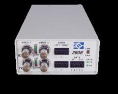 Broadata Fiber Optic TxRx 1 Vid 2 Audio RS232 Bidi MMF-ST Cageable