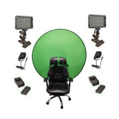 Bescor Dual XT160 Lights with KLP Mount, AC Adapters, 2 L-Series Batteries, 2 L-Series Chargers & TurtleShell Green Screen Streaming Kit