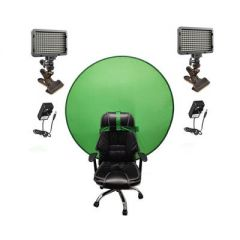 Bescor Dual XT160 Lights with KLP Mount, AC Adapters & TurtleShell Green Screen Streaming Kit