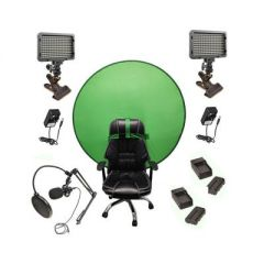 Bescor Dual XT160 Lights with KLP Mount, AC Adapters, 2 L-Series Batteries, 2 L-Series Chargers,  TurtleShell Green Screen & USB Microphone Streaming Kit