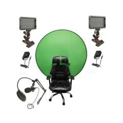 Bescor Dual XT160 Lights with KLP Mount, AC Adapters, TurtleShell Green Screen & USB Microphone Streaming Kit