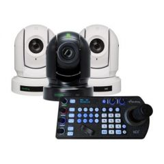 BirdDog Eyes P200 1080P Full NDI PTZ Camera (2x White / 1x Black) & PTZ Keyboard Controller Bundle
