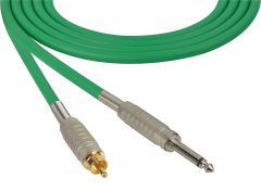 Sescom BSC100SRGN Audio Cable Belden Star Quad 1/4 TS Mono Male to RCA Male Green - 100 Foot