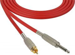 Sescom BSC100SRRD Audio Cable Belden Star Quad 1/4 TS Mono Male to RCA Male Red - 100 Foot