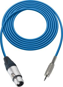 Sescom BSC100XJMZBE Audio Cable Belden Star Quad 3-Pin XLR Female to 3.5mm TRS Balanced Male Blue - 100 Foot