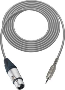 Sescom BSC100XJMZGY Audio Cable Belden Star Quad 3-Pin XLR Female to 3.5mm TRS Balanced Male Gray - 100 Foot