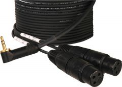 Sescom CAM2-2MIC-10   Camera to Mic Bridged Cable 3.5mm Stereo to 2 Unbalanced XLR Females - 10 Foot