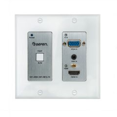 Gefen Inc EXT-UHDV-WP-HBTLS-TX Gefen  4K Ultra HD Multi-Format 2x1 HDBaseT Wall-Plate Sender with Scaler Auto-Switching and POH