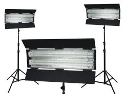 Flolight Dimmable 5400K Fixtures 3 LSMD 8' Light Stands KIT-FL-110AWD3