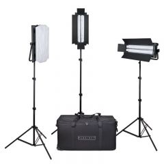 Flolight Dimmable 5400k Fixtures 3 Lsmd 8' Light Stands and Padded Wheeled Carry Case KIT-FL-110AWD3CASE