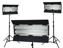 Flolight Non-dimmable 5400K Fixtures 3 LSLD 6' Light Stands KIT-FL-110HMD3