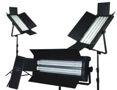 Flolight Dimmable 5400K fixtures 3 LSMD 8' Light Stands KIT-FL-220AWD3