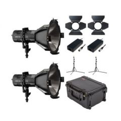 Hive Lighting HLS2C-PS-2LKIT  Hornet 200-C Par Spot 2 Light Kit with 2 Stands and Case (Custom Foam)
