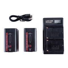IndiPRO Tools 2 x NP-F980 6600mAh Li-Ion Batteries & Dual L-Series Charger Kit - INPFKT2