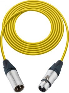Sescom L2-100XXJYW   Mic Cable Pro Stage Series 3-Pin XLR Female to 3-Pin XLR Male Yellow - 100 Foot