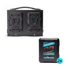 Indipro Tools M2S98KT2 2x Micro- Series 98Wh V-Mount Li-Ion Batteries and Indipro Dual Fusion V-Mount Charger Kit