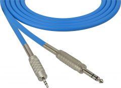 Sescom MSC100SZMZBE Audio Cable Mogami Neglex Quad 1/4 TRS Balanced Male to 3.5mm TRS Balanced Male Blue - 100 Foot