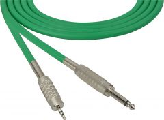 Sescom MSC50SMZGN Audio Cable Mogami Neglex Quad 1/4 TS Mono Male to 3.5mm TRS Balanced Male Green - 50 Foot