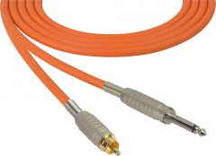 Sescom MSC50SROE Audio Cable Mogami Neglex Quad 1/4 TS Mono Male to RCA Male Orange - 50 Foot
