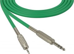 Sescom MSC50SZMZGN Audio Cable Mogami Neglex Quad 1/4 TRS Balanced Male to 3.5mm TRS Balanced Male Green - 50 Foot