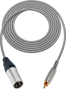 Sescom MSC50XRGY Audio Cable Mogami Neglex Quad 3-Pin XLR Male to RCA Male Gray - 50 Foot