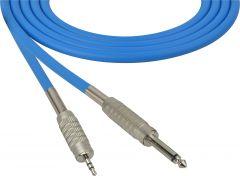 Sescom MSC75SMZBE Audio Cable Mogami Neglex Quad 1/4 TS Mono Male to 3.5mm TRS Balanced Male Blue - 75 Foot