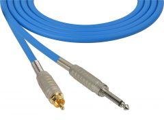 Sescom MSC75SRBE Audio Cable Mogami Neglex Quad 1/4 TS Mono Male to RCA Male Blue - 75 Foot