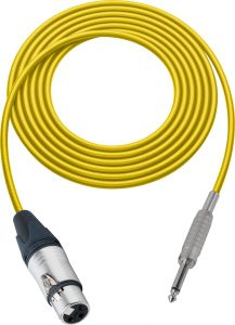 Sescom MSC75XJSYW Audio Cable Mogami Neglex Quad 3-Pin XLR Female to 1/4 TS Mono Male Yellow - 75 Foot