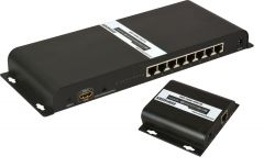 Ocean Matrix OMX-HDMI-HDB1X8 1080p 1x8 HDbitT HDMI Splitter & CAT5/5e/6 Extender Kit with IR Control 8 Receivers