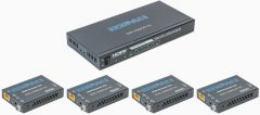 Ocean Matrix OMX-HDMICAT1X4 HDMI 18Gbps 4K@60Hz 1x4 Splitter & Cat6/6a/7 Extender with 4 Receivers - PoC/IR/EDID