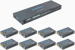 Ocean Matrix OMX-HDMICAT1X8 HDMI 18Gbps 4K@60Hz 1x8 Splitter & Cat6/6a/7 Extender with 8 Receivers - PoC/IR/EDID