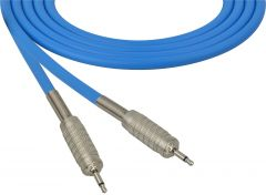 Sescom SC100MMBE   Audio Cable Canare Star-Quad 3.5mm Mini TS Male to Male Blue - 100 Foot