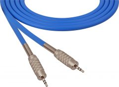 Sescom SC100MZMZBE   Audio Cable Canare Star-Quad 3.5mm TRS Male to Male Blue - 100 Foot