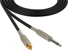 Sescom SC100SR Audio Cable Canare Star-Quad 1/4 TS Mono Male to RCA Male Black - 100 Foot