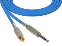 Sescom SC100SRBE Audio Cable Canare Star-Quad 1/4 TS Mono Male to RCA Male Blue - 100 Foot