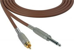 Sescom SC100SRBN Audio Cable Canare Star-Quad 1/4 TS Mono Male to RCA Male Brown - 100 Foot