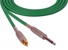 Sescom SC100SRGN Audio Cable Canare Star-Quad 1/4 TS Mono Male to RCA Male Green - 100 Foot