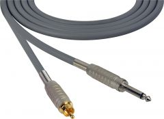 Sescom SC100SRGY Audio Cable Canare Star-Quad 1/4 TS Mono Male to RCA Male Gray - 100 Foot