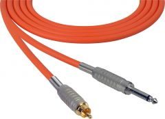 Sescom SC100SROE Audio Cable Canare Star-Quad 1/4 TS Mono Male to RCA Male Orange - 100 Foot