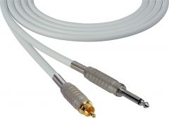 Sescom SC100SRWE Audio Cable Canare Star-Quad 1/4 TS Mono Male to RCA Male White - 100 Foot