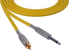Sescom SC100SRYW Audio Cable Canare Star-Quad 1/4 TS Mono Male to RCA Male Yellow - 100 Foot