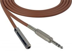 Sescom SC100SZSJZBN Audio Cable Canare Star-Quad 1/4 TRS Balanced Male to 1/4 TRS Balanced Female Brown - 100 Foot