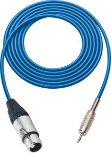 Sescom SC100XJMBE Audio Cable Canare Star-Quad 3-Pin XLR Female to 3.5mm TS Mono Male Blue - 100 Foot