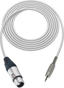 Sescom SC100XJMZWE   Canare Star-Quad 3-Pin XLR Female to 3.5mm Stereo Mini Plug Audio Cable White - 100 Foot