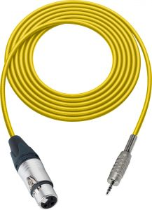 Sescom SC100XJMZYW   Canare Star-Quad 3-Pin XLR Female - 3.5mm Stereo Mini Plug Audio Cable Yellow - 100 Foot