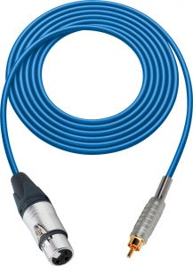 Sescom SC100XJRBE   Audio Cable Canare Star-Quad 3-Pin XLR Female to RCA Male Blue - 100 Foot