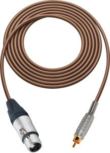 Sescom SC100XJRBN   Audio Cable Canare Star-Quad 3-Pin XLR Female to RCA Male Brown - 100 Foot