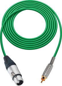Sescom SC100XJRGN   Audio Cable Canare Star-Quad 3-Pin XLR Female to RCA Male Green - 100 Foot