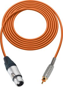 Sescom SC100XJROE   Audio Cable Canare Star-Quad 3-Pin XLR Female to RCA Male Orange - 100 Foot